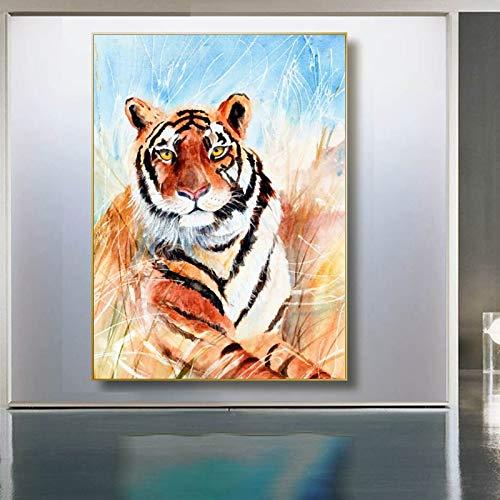 BailongXiao Pintura Moderna de la Acuarela del Tigre en la Lona Pintura al óleo Imagen del Arte de la Pared decoración Animal del Cartel,Pintura sin Marco,45x67cm