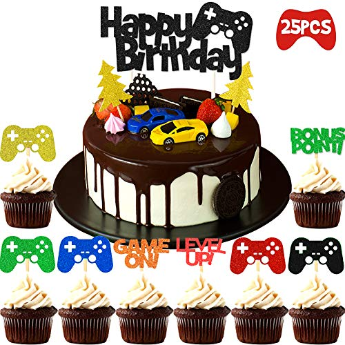 Cake Toppers Birthday BETOY Geburtstag Kuchen Topper 25 Stück Happy Birthday Tortendeko Tortenaufsatz Kuchendeckel für Birthday Party Supplies