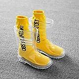 RYDZTMZ PVC Trasparente Rain Boots, Antiscivolo Stivali da Pioggia, Scarpe di Moda d'Acqua for Bambini (Color : A, Size : 18CM)