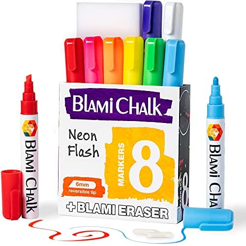 Blami Arts Liquid Chalk Markers 8 Pens Set erasable - Neon Vibrant Chalkboard Markers - Non-Toxic Water-based Liquid Chalk Markers with Reversible Tips and Erasing Sponge Included
