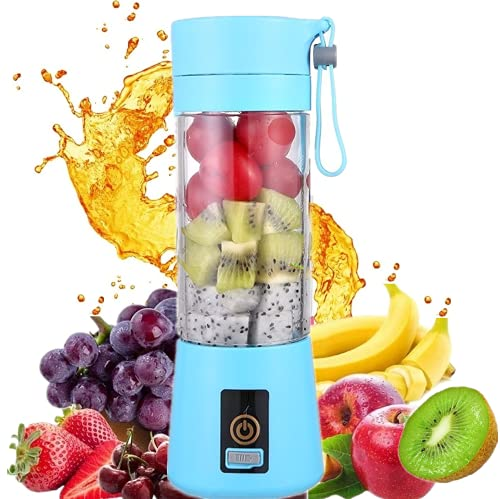 HANBO 380ml Electric Portable Juicer Blender Cup, Household Fruit Mixer with Six Blades in 3D, USB Rechargeable Juice Blender Magnetic Secure Switch Electric Fruit Mixer (Purple) (Blue)