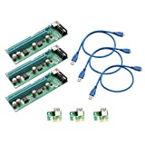 I/O Crest SI-PEX60017 Pack of 3 PCI-E x1 to Powered PCIe x16 GPU Riser Adapter Card USB 3.0 Extension Cable, Solid Capacitors