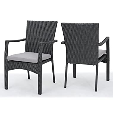 Tigua Outdoor Grey Wicker Dining Chair with Cushions (Set of 2)