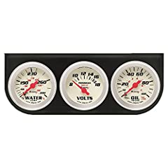 Oil gauge measures from 0-100 PSI with 270 degree sweep Voltmeter measures from 8-18 volts with 90 degree sweep Water gauge measures from 130 to 280 degree F with 270 degree sweep Twist-on cup design Includes dash mount