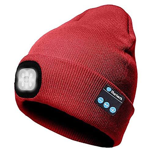 Gorro de punto con auriculares Bluetooth inalámbricos con luz LED para llamar por Bluetooth para exteriores (rojo)