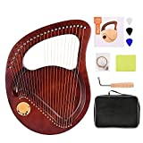 SEAAN 24 String Lyre Harp Mahogany Solid Wood Musical Instrument with Tuning Wrench, 24 Spare Mental Strings and Carry Bag for Adults and Kids, Music Lovers (Color: Brown)