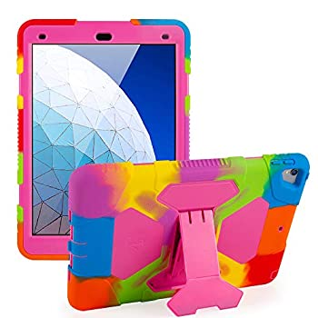 ACEGUARDER iPad Air 3 Case iPad Air 10.5 Case iPad Pro 10.5 Case 2017 Shockproof Impact Resistant Kids Protective Cover with Kickstand - Rainbow Pink