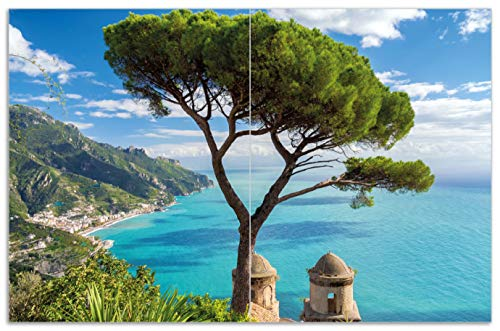 Wallario Herdabdeckplatte/Spritzschutz aus Glas, 2-teilig, 80x52cm, für Ceran- und Induktionsherde, Motiv Italienische Küste