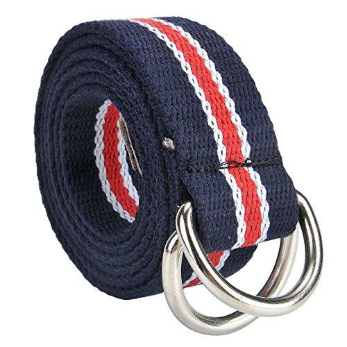Faletony Herren Damen Gürtel Gestreift Stoffgürtel mit Doppel D-ringe Schnalle Leinwand Canvas Jeansgürtel Belts 130cm + Original Geschenkbox
