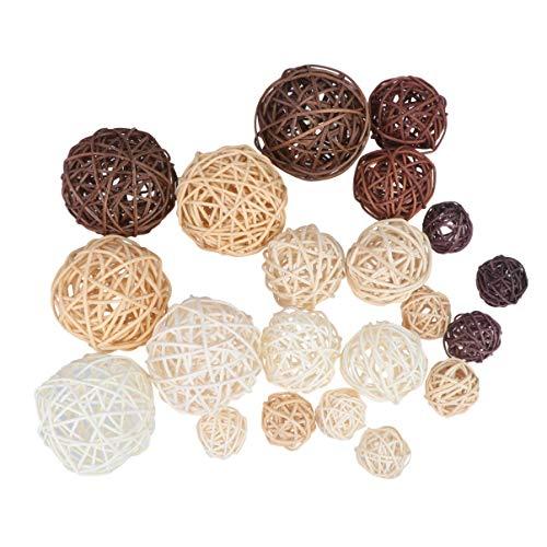 Artibetter 21 bolas de ratán de mimbre decorativas rellenables para jarrones para decoración navideña de mesa para fiestas de boda (mixto).