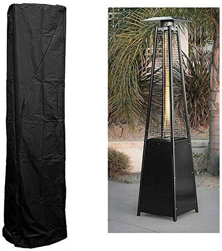 LAZNG Cubierta para calentador de patio exterior, color negro, resistente al agua, protector de muebles redondo, para patio, lluvia, tela Oxford, protección solar