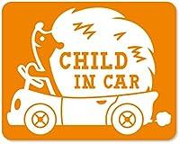imoninn CHILD in car ステッカー 【マグネットタイプ】 No.37 ハリネズミさん (オレンジ色)