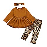 Girls 2t Clothes, Fall Outfits for Toddler Girls Ruffles Tunic Dress Tops+Leopard Long Pants+Cute Bow Headband (Ruffles Tunic Tops-Brown, 2-3 T)