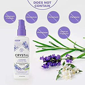 CRYSTAL Mineral Deodorant Spray- Body Deodorant With 24-Hour Odor Protection, Lavender & White Tea Spray, Non-Staining, Aluminum Chloride & Paraben Free, 4 FL OZ - Pack of 2