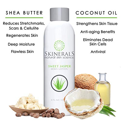 51EngssJctL - Skinerals Body Lotion Sweet Jasper with Organic and Natural Ingredients Vanilla Scent with Aloe, Coconut Oil, and Shea Butter for Softer Mosturized Skin