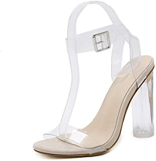 Women's High Heel Sandals 2019 New Transparent PU Fashion Ladies Ultra High Heels Dress Shoes Wedding Party Evening,Clear,36