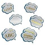 Oblique Unique® 12x Konfetti für Schuleinführung Einschulung Schulanfang Schulbeginn Tischdeko ABC Schulkind 1. Klasse 1 + 2 = 3 Schule Basteln Aufkleben Blau Gold
