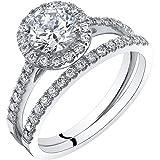 14K White Gold Halo Engagement Ring and Wedding Band Bridal Set Size 5.5