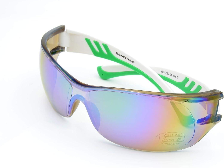 schwarz wei/ß Gamswild Sonnenbrille WS8232 Sportbrille Skibrille Damen Herren Fahrradbrille Unisex blau