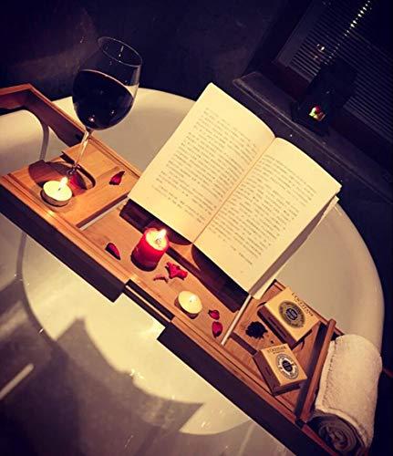 JIANGJIE Badewanne Caddy Tray Bamboo Luxury Adjustable Waterproof Shower Reading Rack, Tablet Holder, Cellphone Tray und Wine Glass Holder