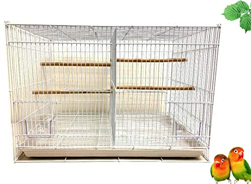 Mcage Case of 6 Aviary Canary Budgie Breeding Finch Parakeet Flight Bird Cage with Center Divider 24' x 16' x 16'H (White, with Center Divider)