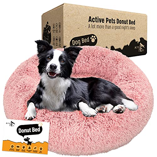 Active Pets Plush Calming Dog Bed, Donut Dog Bed for Small Dogs, Medium & Large, Anti Anxiety Dog Bed, Soft Fuzzy Calming Bed for Dogs & Cats, Comfy Cat Bed, Marshmallow Cuddler Nest Calming Pet Bed