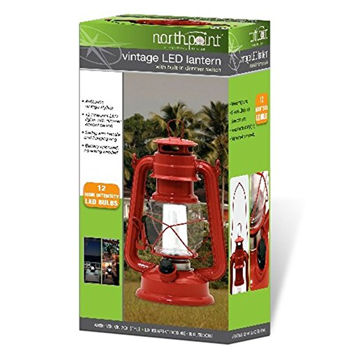 Northpoint Vintage Style Red Hurricane Lantern with 12 LED's and 150 Lumen Light Output and Dimmer Switch, Battery Operated Hanging Lantern for Indoor and Outdoor Usage