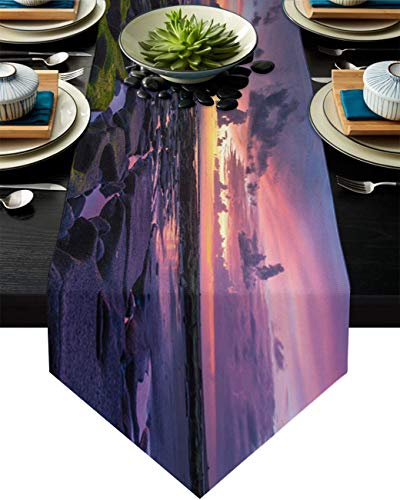 COMMER Camino de mesa, bufandas de playa costera, decoración de mesa para bodas, ceremonias de graduación/banquete (33 x 228 cm)