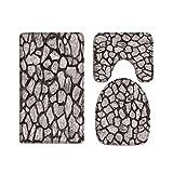 A.Monamour Juego de 3 Alfombrillas de Baño Fondo De Textura De Pared De Piedra De Ladrillo De Hormigón Franela Absorbente Antideslizantes Alfombra de Baño Tapete