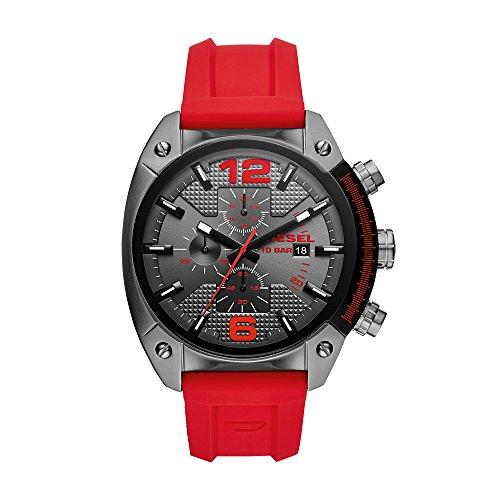 Diesel Men's Overflow Stainless Steel Quartz Watch with Silicone Strap, red, 21 (Model: DZ4481)