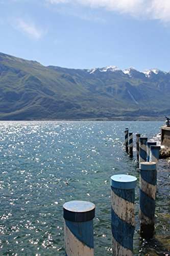 LAMINATED 24x36 Poster: Garda Lake View Summer Holiday Water Mountains Italy Landscape Bank Blue View Nature Atmospheric Idyllic Travel