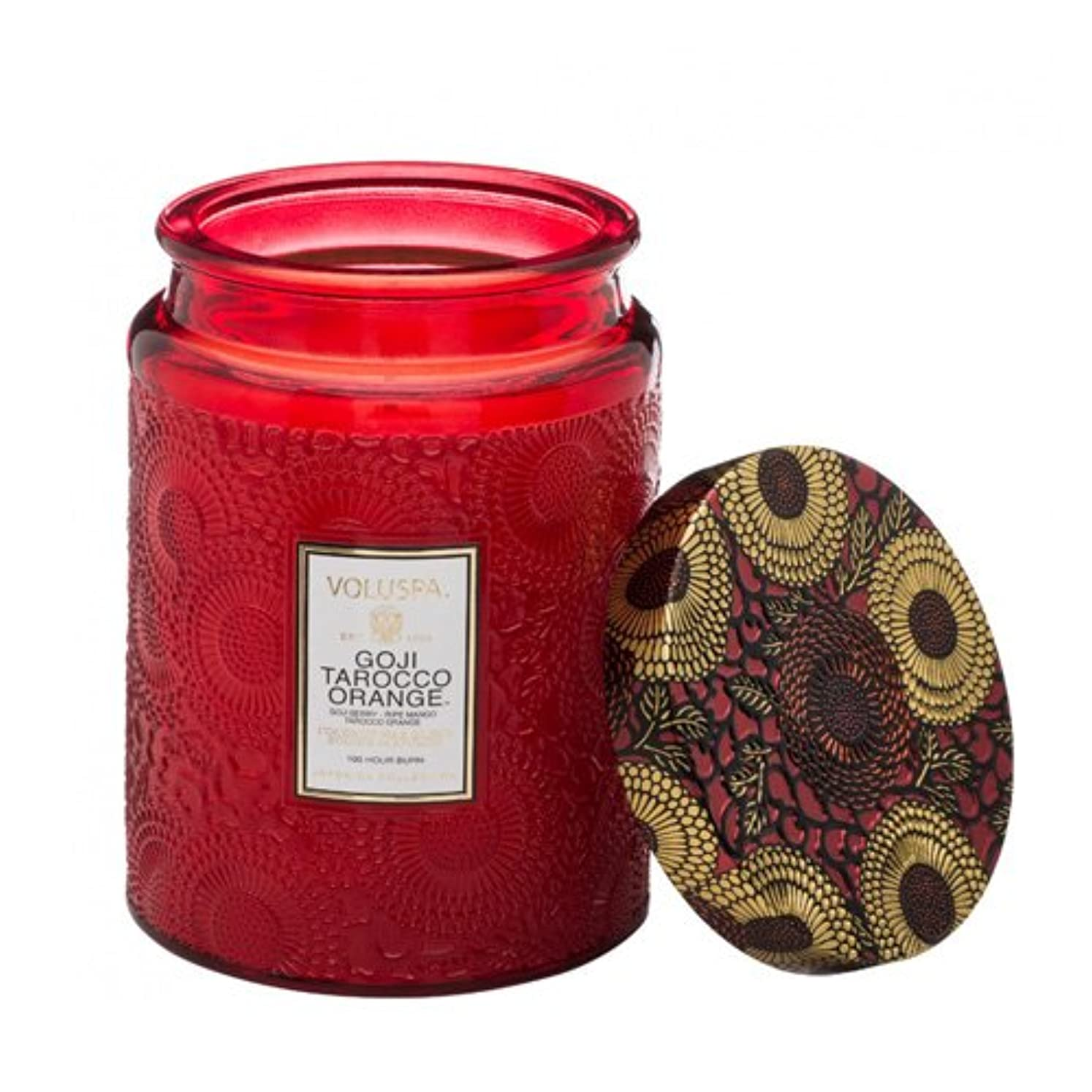 バング効率挑発するVoluspa ボルスパ ジャポニカ リミテッド グラスジャーキャンドル  L ゴージ&タロッコオレンジ GOJI & TAROCCO ORANGE JAPONICA Limited LARGE EMBOSSED Glass jar candle