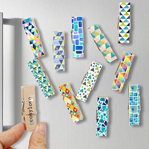 Cosylove - 12 clips magnéticos decorativos de madera con hermosos patrones – Super imanes de nevera para uso en casa oficina – Mostrar fotos, notas, listas, calendarios (mosaico)