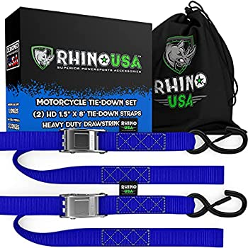 Rhino USA Cambuckle Motorcycle Tie Down Straps  Blue 2-Pack