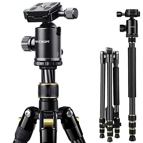 K&F Concept Trépied Appariel Photo Compatible avec Reflex Numériques Caméscopes Canon Nikon Sony GoPro (TC2534 trepied Monopode Carbone)