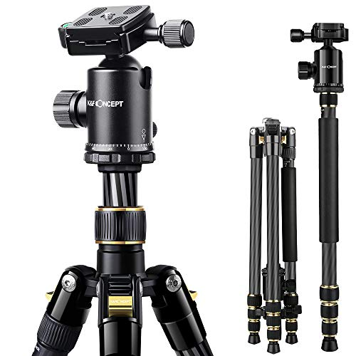 K&F Concept TC2534 Kohlefaser Stativ mit Einbeinstativ, 167,6cm professionelles Carbon Stativ, Belastbarkeit 12kg, Kamera Stativ für DSLR, Canon, Nikon, Simga, Tamron, Sony Kameras