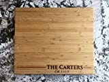 Personalized Bamboo Cutting Board (11 x 13' Single Tone, Carter Design) - Engraveable Charcuterie Platter - Ideal Gift for Wedding, Housewarming, Graduation & Anniversary Presents