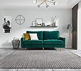 Sofa 2 Sitzer Bettsofa mit Bettkasten inkl. Kissen Couch Sofagarnitur Schlafsofa mit Bezug aus Samt Polstermöbel für kleine Wohnung Gästezimmer Jugendzimmer (Grün)