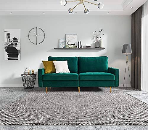Sofa 2 Sitzer Couch mit Schlaffunktion Bettsofa mit Bettkasten inkl. Kissen Couch Sofagarnitur Schlafsofa mit Bezug aus Samt Polstermöbel für kleine Wohnung Gästezimmer Jugendzimmer (Grün)
