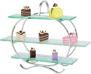 Soporte de exhibición de pastelería de fiesta de cumpleaños, postre de pan rack plato de vidrio rack de almacenamiento de ...