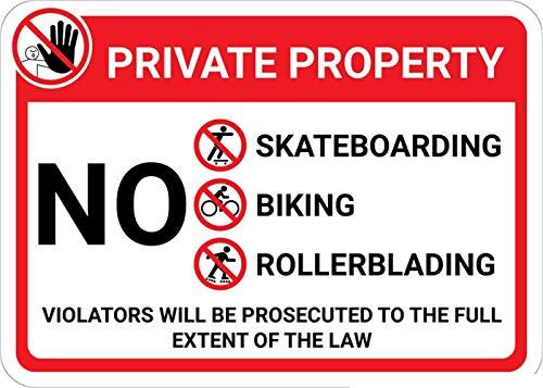 Mesllings Veiligheid Waarschuwing Metalen teken Private Property: Geen Trespassing Skateboarding Fietsen Rollerblading met Icons Violators Vervolgd Landschap 12
