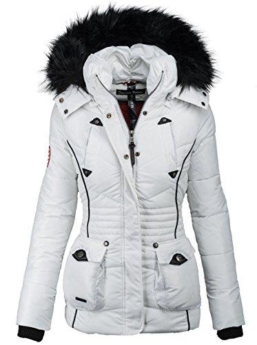 Marikoo Designer Damen Winter Jacke Parka Mantel Teddyfell warm gefüttert B368 [B368-Vanilla-Weiss-Gr.L]