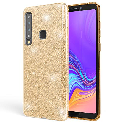 NALIA Hülle kompatibel mit Samsung Galaxy A9 2018, Glitzer Handyhülle Ultra-Slim Silikon-Hülle Back-Cover Schutzhülle, Glitter Sparkle Handy-Tasche Bumper Dünnes Bling Strass Etui, Farbe:Gold