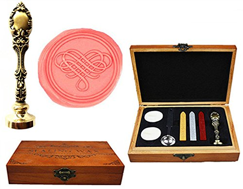 MNYR Fancy Filigraan Hart Decoratieve Luxe Houten Doos Brons Metalen Pauw Bruiloft Uitnodigingen Gift Kaarten Papier Stationaire Envelop Seal Aangepaste Wax Seal Sealing Stamp Sticks Smelten Lepel Hout Gift Kit Brons