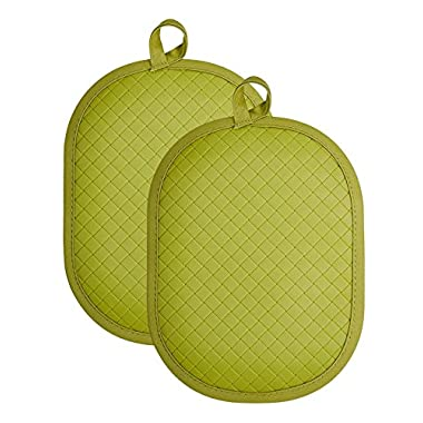 """Rachael Ray Cotton Pot Holder/Hot Pad & Trivet with Silicone Grip, Heat Resistant up to 500 Degrees, Material, 12x7.5"""", Green 2pk"""