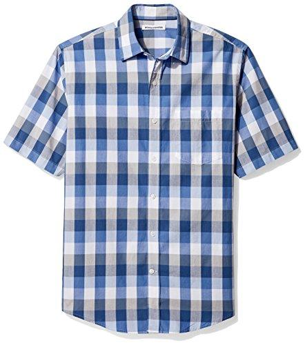 Amazon Essentials Herren-Hemd, Kurzarm, normale Passform, kariert, aus Popeline, Blue/Grey, US L (EU L)