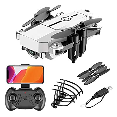 DEAR-JY Portable Folding Wifi FPV Mini Drones,Profissional 2.4Ghz Foldable RC Quadcopter Drone with 0.3MP/5.0MP HD Camera,Smart Remote Control Drone Gravity sensor One Key Return,White,0.3MP