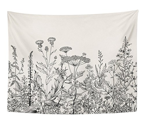 Emvency Tapestry Floral Border Herbs and Wild Flowers Botanical Engraving Style Black and White Home Decor Wall Hanging 60