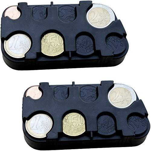 marion10020 Euro-Münzsammler Münzenhalter Geld-Sortierer Münzbox Münzen-Sammler Kleingeldspender, mit Schnell-Fixierung, schwarz, 2er-Set