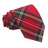 DQT Neu Baumwolle Scottish Schottenkaro Herren Mode Elegante Klassisch 9cm Krawatte Rot Königs...